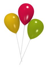 Luftballons in gelb, pink und grün auf weiß isoliert. 3d render