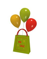 grüne Einkaufstasche mit Sale Etikett und bunten Luftballons auf weiß isoliert. 3d render