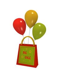 Einkaufstasche mit Sale Etikett und bunten Luftballons auf weiß isoliert. 3d render