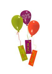 Luftballons mit Sale 20% Werbung auf weiß isoliert. 3d render