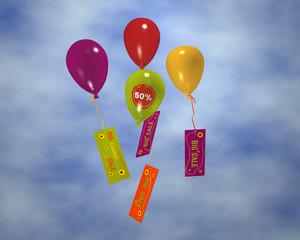 bunte Luftballons mit Rabatt-Aufkleber 50% an denen Werbung hängt, im Wolkenhimmel. 3d render