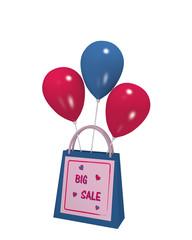 blaue Einkaufstasche mit lila Sale Etikett und bunten Luftballons auf weiß isoliert. 3d render