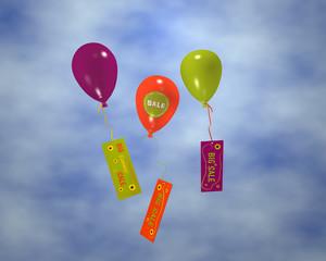 Luftballons mit Sale-Aufkleber an denen Werbung hängt, im Wolkenhimmel. 3d render