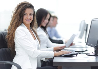 business woman on the background of business team