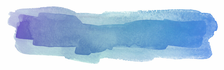 blue light watercolor wash drawing band for design transparent design element isolated on paper.