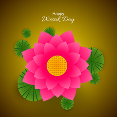 nice and beautiful abstract or poster for Wesak Day with nice and creative design illustration of Lotus in a background.