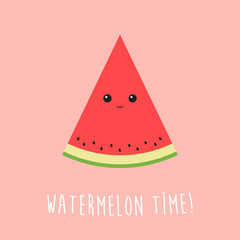 Cute watermelon cartoon character with small shiny face in flat design and watermelon time text.