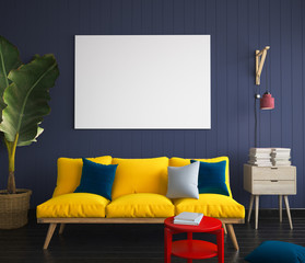 Mock up poster in hipster interior with yellow sofa. 3D render