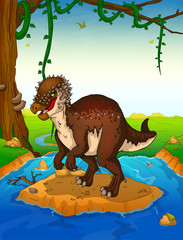Pachycephalosaurus on the background of a waterfall.