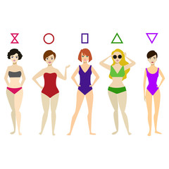 Cartoon Woman Body Shape Different Types Set. Vector