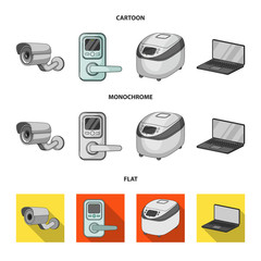 Home appliances and equipment cartoon,flat,monochrome icons in set collection for design.Modern household appliances vector symbol stock web illustration.