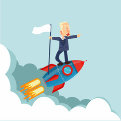 businessman on a Flying rocket  with flag