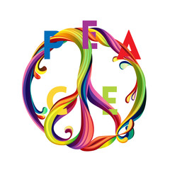 Hippie peace symbol with liquid shapes and sliced text. Peace and love. Colorful  design concept for banner,  t-shirt, print, poster. Vector illustration
