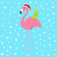 Pink flamingo with wing holding christmas fir tree. Santa Claus hat. Exotic tropical bird. Zoo animal collection. Cute cartoon character. Decoration element. Flat design. Blue snow background.