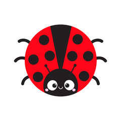 Cute cartoon lady bug round icon. Cute cartoon funny character. Smiling face. White background. Isolated. Baby illustration. Flat design.