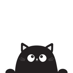 Black cute sitting cat kitten face head looking up. Paw print. Cartoon kitty funny character. Kawaii animal. Halloween Greeting card template. Flat design. White background Isolated.