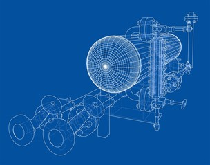 Wire-frame industrial equipment
