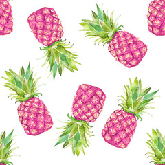 Seamless pattern with pink pineapple on a white background. Watercolor