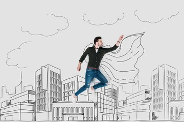 creative hand drawn collage with man in superhero cape flying over city