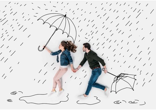 creative hand drawn collage with couple running under rain with umbrellas