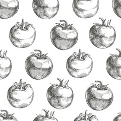 Vector seamless pattern with sketch tomatoes isolated on white. Botanical hand drawn texture with engraved fresh vegetables. Black and white background for food design