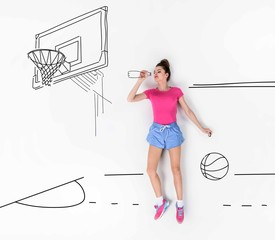 creative hand drawn collage with drinking water on basketball field