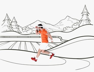 creative hand drawn collage with with man running by mountains landscape