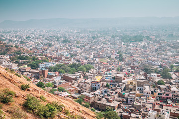 City view from Nahargarh Fort in Jaipur, India
