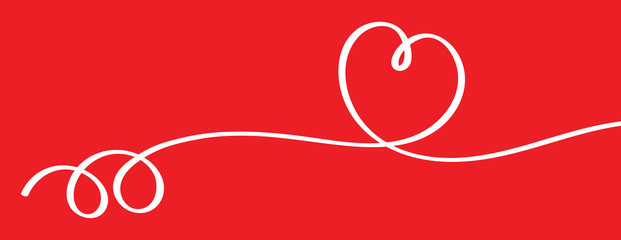 Heart shape ribbon on red background vector