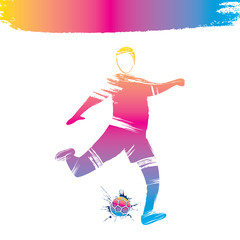 colorful soccer player design