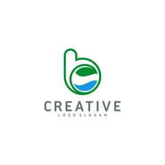 Letter b icon symbol, nature  logo template