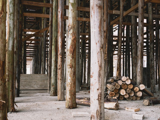 Wooden construction Building structure Industrial scaffold in construction site