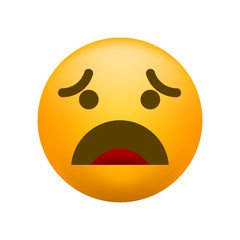Cute Disappointed Emoticon on White Background. Isolated Vector Illustration