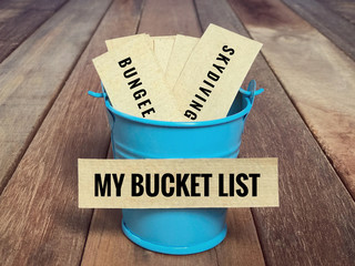 Inspirational and conceptual - 'My bucket list ' written on a white sticky paper. With vintage styled background. Wall mural