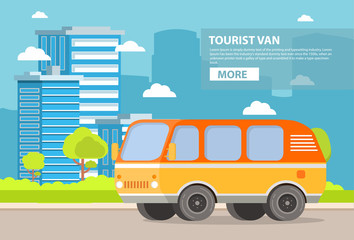 City landscape with buildings of skyscrapers and the road on which the retro the vintage van goes tourist. The vehicle for road trips. In flat style a vector. With trees and bushes.