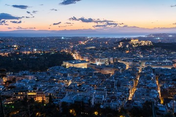 Cityscape of Athens in Greece at dusk
