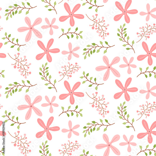 Seamless Pattern With Cute Pink Floral Flowers Background Vector