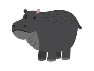 Hippo. Cute vector cartoon hippopotamus, adorable african behemoth animal, river-horse on white