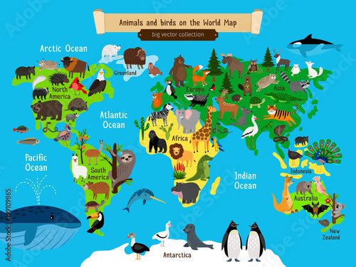 World Map Animals. Europe and Asia, South and North America ...