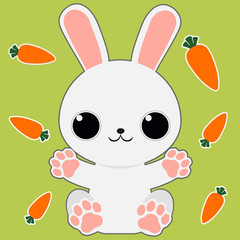 Cartoon bunny sitting arms open on green background with carrots