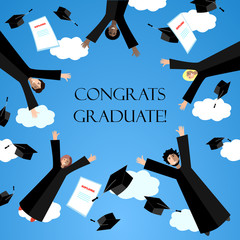 Happy Graduates flying in the air with graduation hats. Jumping Students and Graduation Caps in the sky. Vector card.