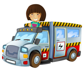 cartoon scene with child - girl in toy vehicle electricity car on white background - illustration for children