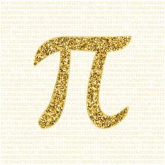 Vector golden glitter Pi number on a white background. Pi sign, mathematical constant, irrational number, greek letter. Abstract digital illustration. Design element for decoration.