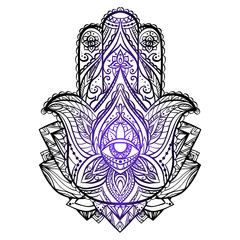 Illustration of Hamsa with boho pattern. Buddhas hand. Vector element for your sketch of tattoo, coloring book, T-shirt print and your design.