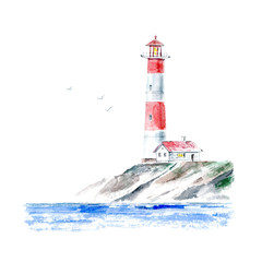 Landscape of a lighthouse and the ocean.Sea picture.Watercolor hand drawn illustration.White background.