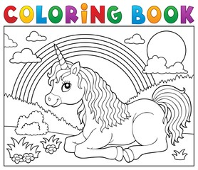 Self adhesive Wall Murals For Kids Coloring book lying unicorn theme 2