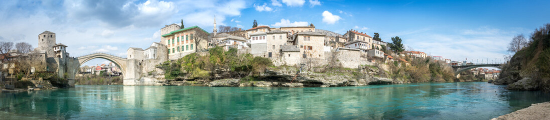 Panoramic view of city of Mostar, Bosnia and Herzegovina. Wall mural
