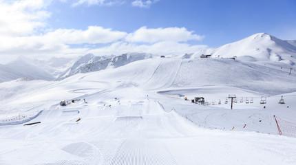 Livigno in Italian Alps. Ski resort Carosello 3000
