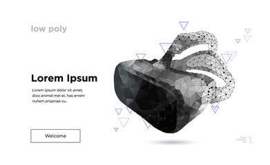 Low poly virtual reality helmet.