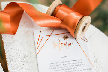 Menu copper with flat lays details
